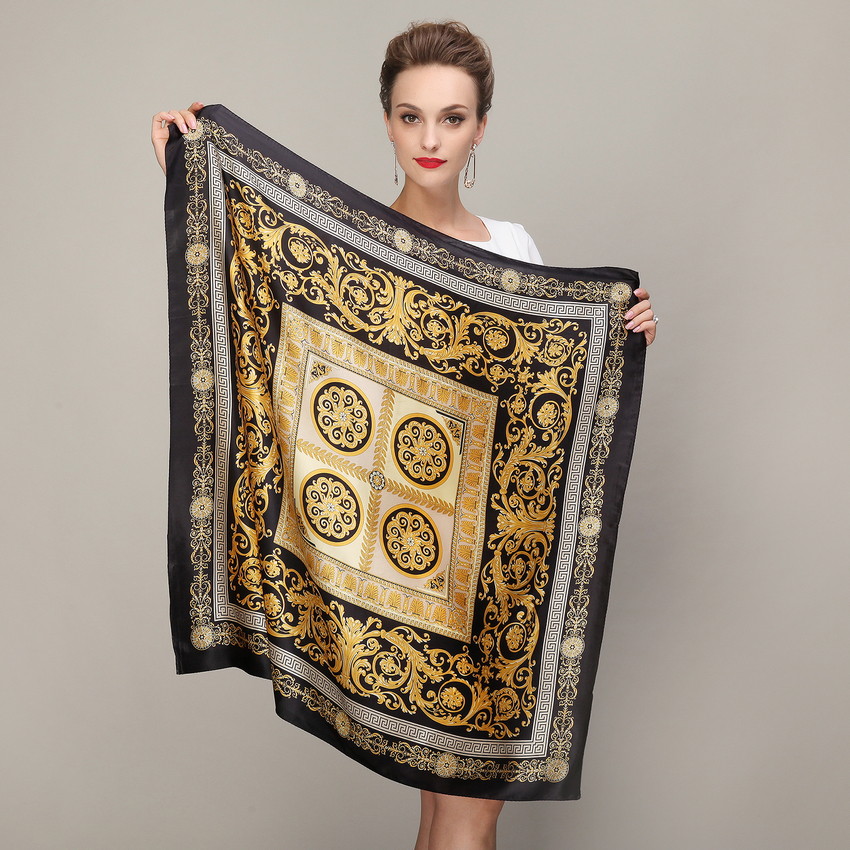 Black Gold Square Scarves 2015 Fashion Ladies Pure Silk Scarf Shawl Autumn Winter 100% Mulberry Silk Female Scarves 90*90cm