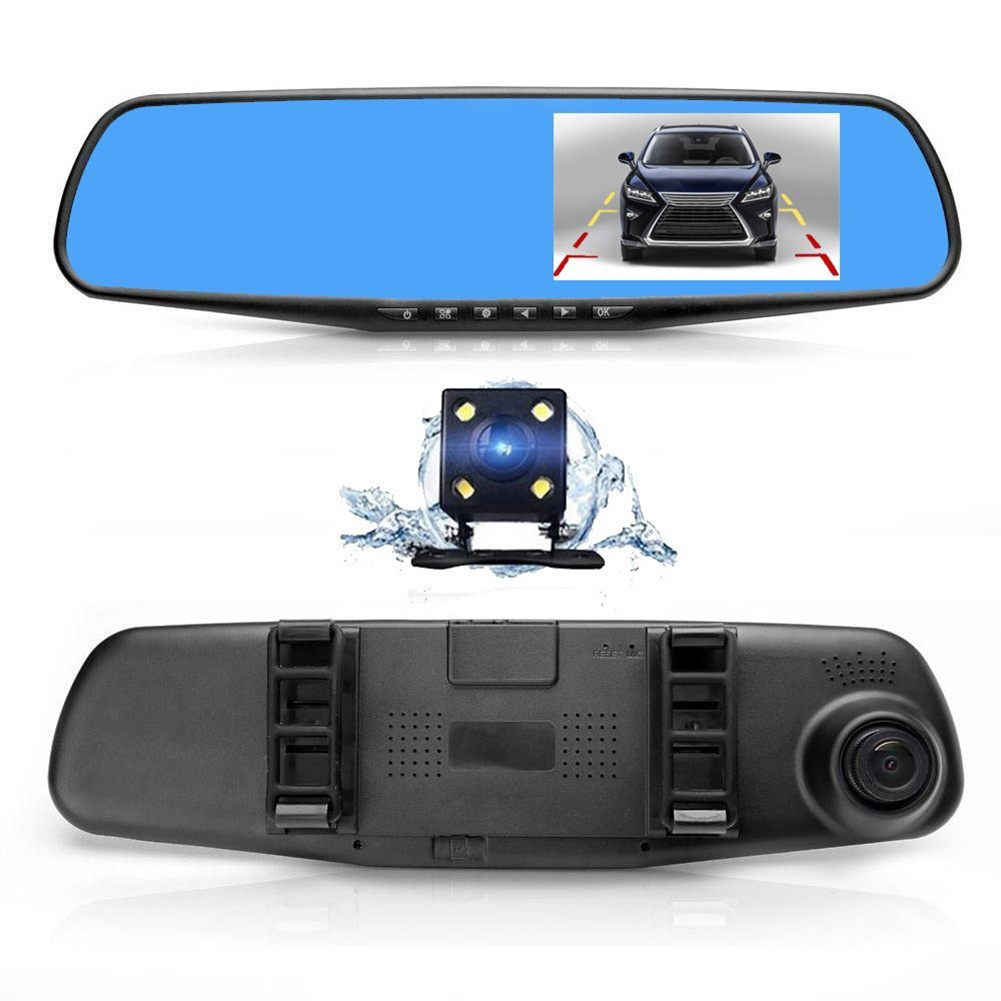 DHL 10 PCS Car Camera Video 170 Dual Lens DVR Cam 4 3 Inch Mirror Dash