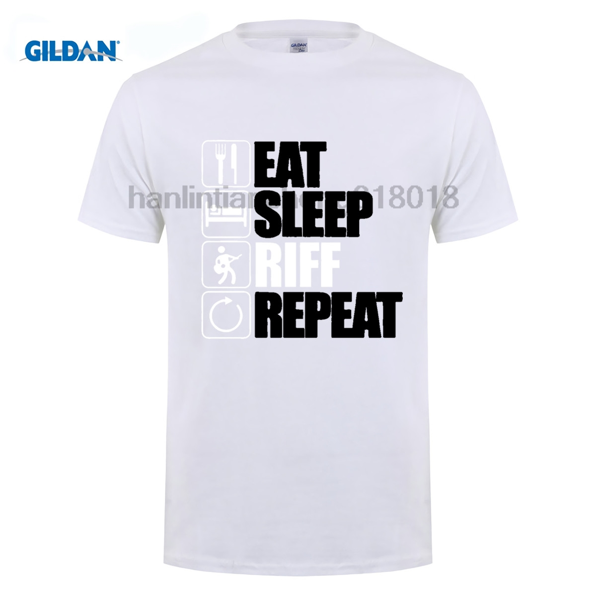 GILDAN Eat Sleep Riff Repeat Guitar T Shirt Gift for Him Dad Fathers Day MenS High Quality Tops Hipster Tees Sleeve T shirt