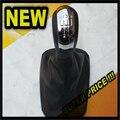 AJUSTE Para Skoda Octavia A5 2 MK2 2004-2010 2010 5 Speed Car Gear Shift Knob Con Negro Bota De Cuero Cromo Cap