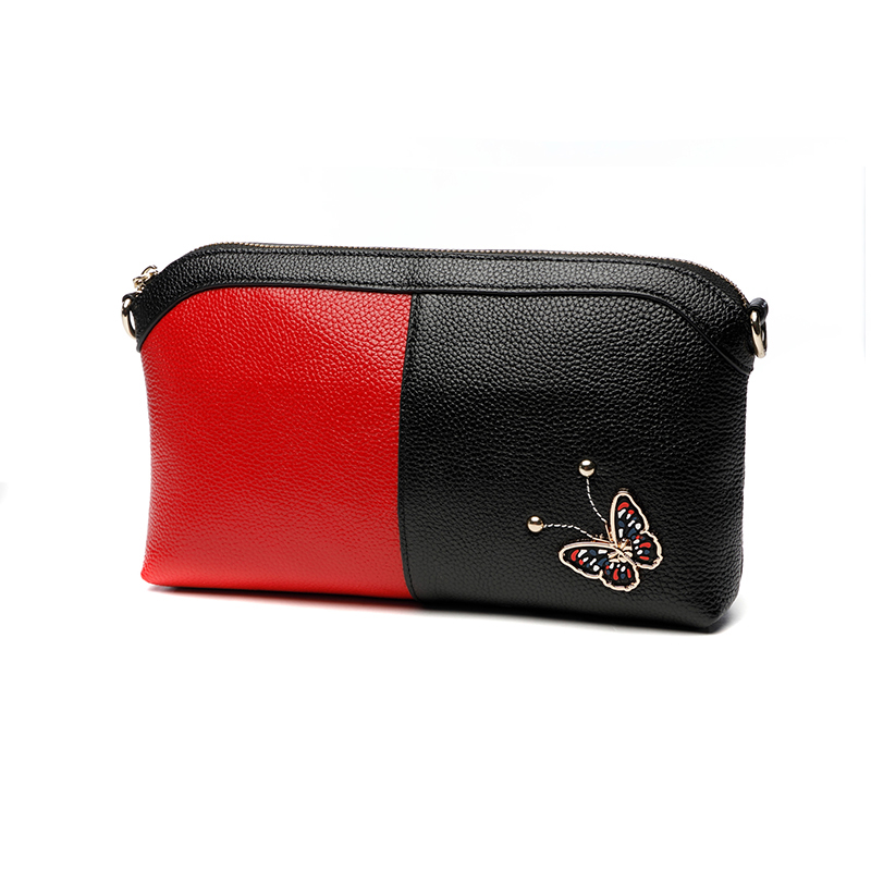 Rivet Butterfly Soft Genuine Leather Evening Clutches Clutch Wallet Coin Purse Women's Shoulder Bag Wristlet Handbag Black Red vintage serpentine genuine leather woman clutches evening bag crossbody chain shoulder bag handbag clutch wallet lady long purse