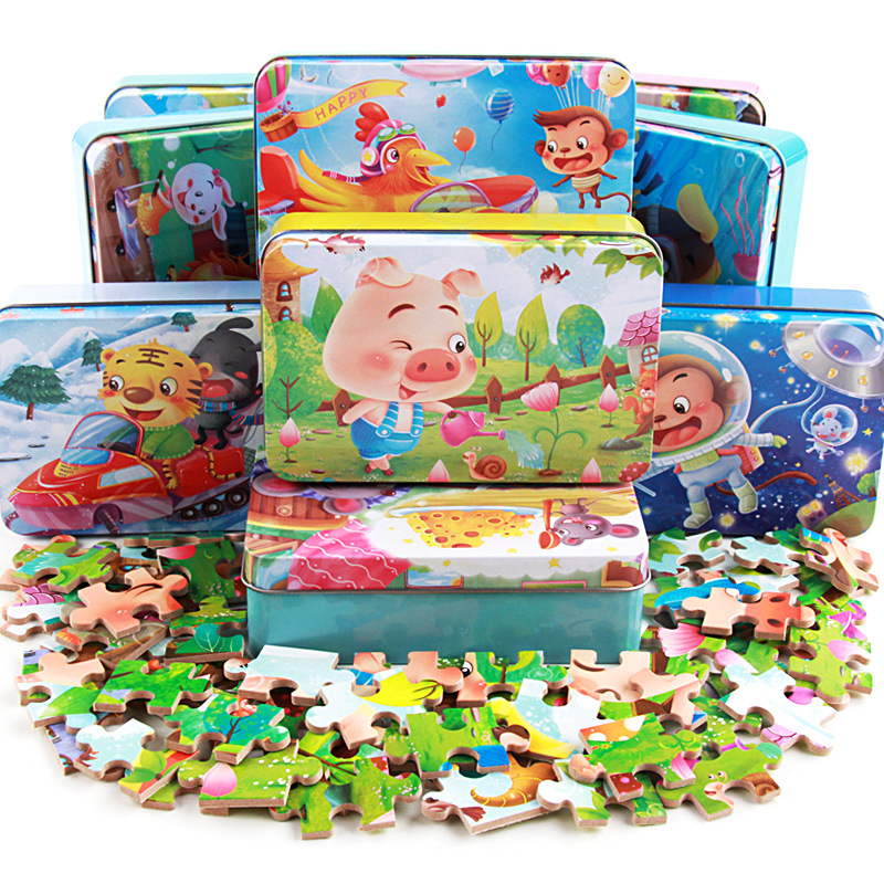 60 Pcs/box Cute Cartoon Puzzle With Iron Box For Children Jigsaw Wooden Animal Puzzle Early Educational Toys For Kids Gift