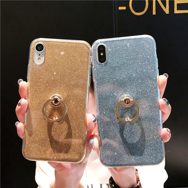 Silicone Bling Glitter Phone Case For Samsung Galaxy A7 2018 S8 S9 Plus Soft TPU Ring Cover For Samsung Note 9 A9 2018 Coque