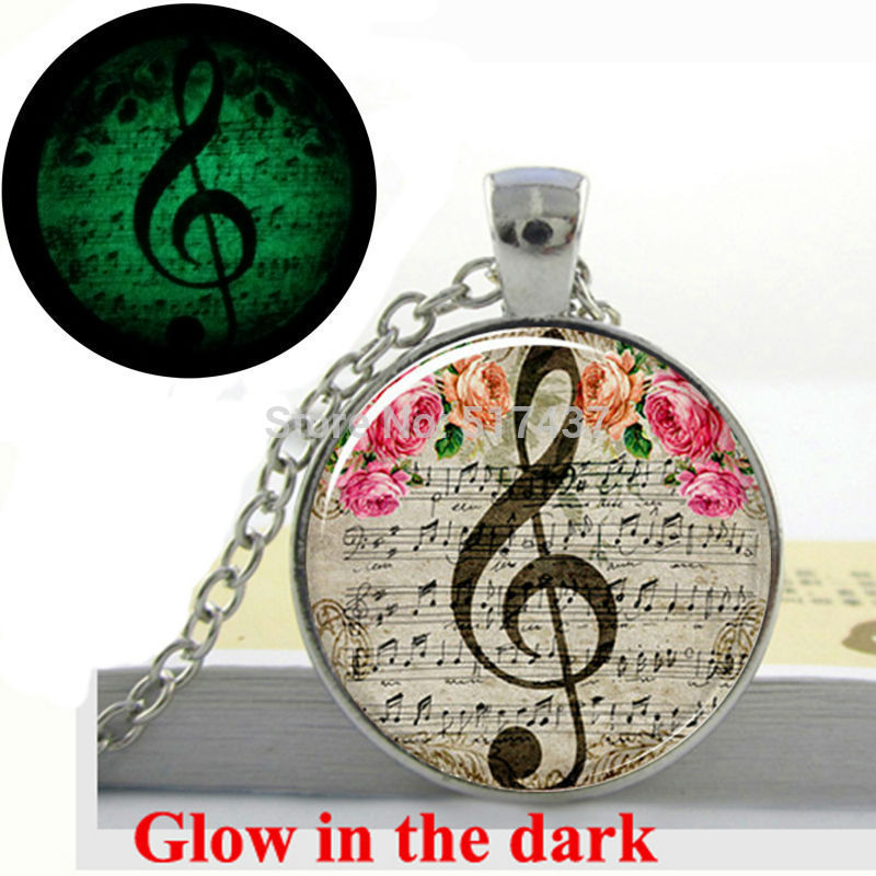 Glow in the Dark Pendant Clef Necklace Music Note Necklace Jewelry glass photo pendant necklace Glowing jewelry