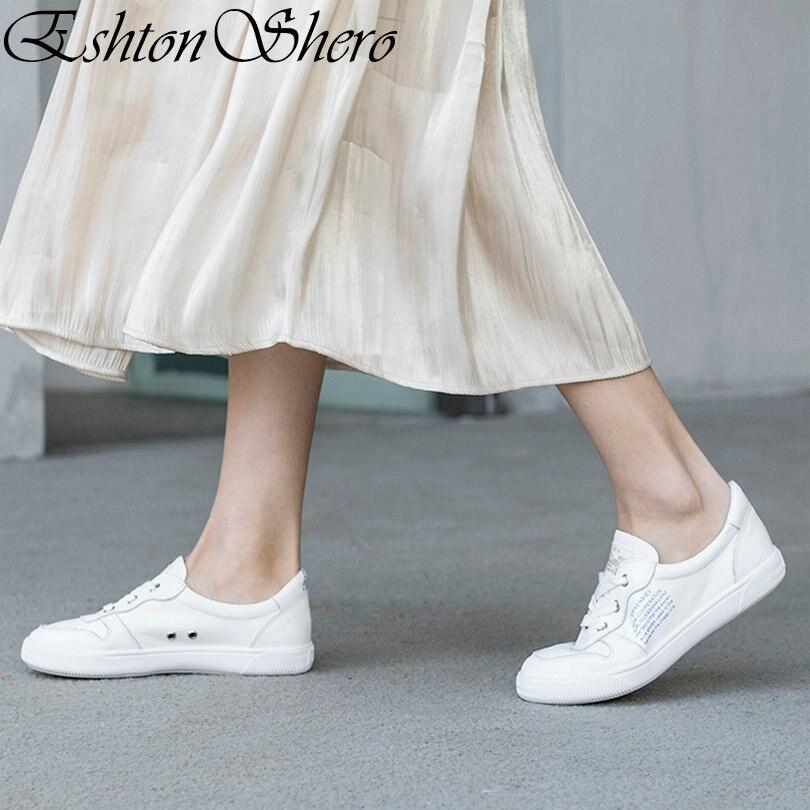 EshtonShero Autumn Women's White Shoes Flats Genuine Leather+PU Flat Heels Round Toe Basic Ladies Casual Shoes Size 4-8