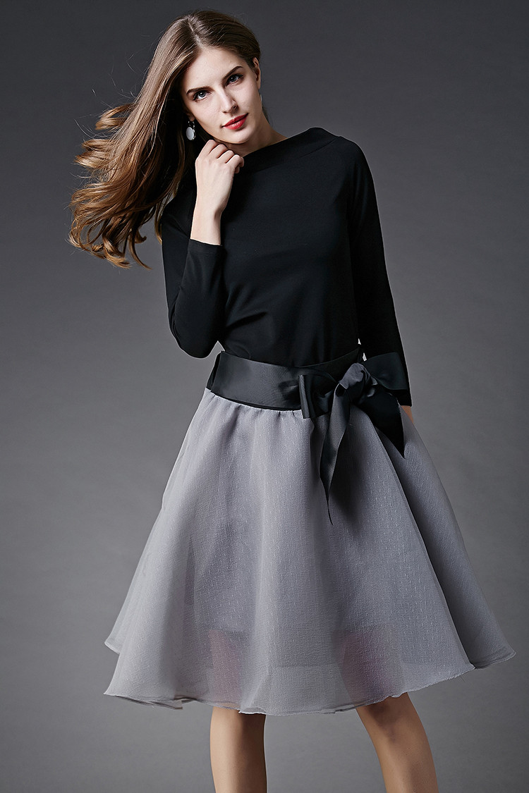 New-Spring-Summer-Women-s-Skirt-Suits-Elegant-Ladies-Black-Blouse-And-Pleated-SkirtWith-Bows-Clothing (2)