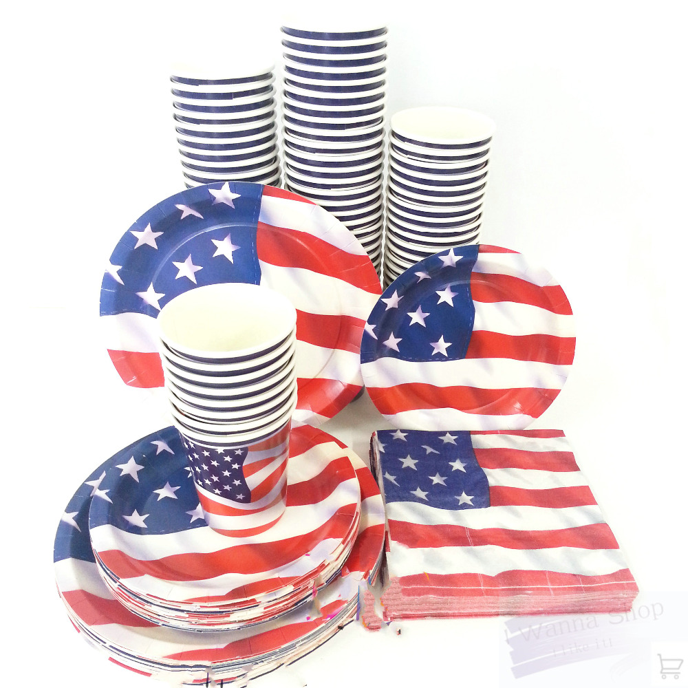 birthday party decoration supplies paper plate paper cup set party favors decor eco friendly American flag printing dish set on Aliexpress.com | Alibaba ...  sc 1 st  AliExpress.com & birthday party decoration supplies paper plate paper cup set party ...