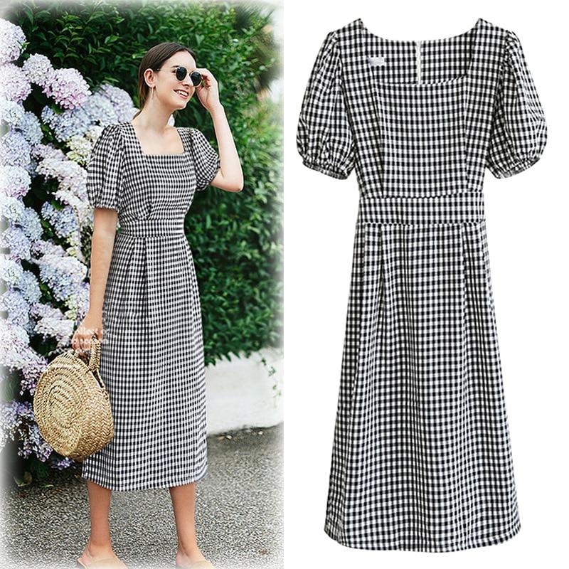 L-4XL Plus Size Casual Women Dresses 2019 Summer Fashion Waisted Plain Elegant Dress Vestidos Square Collar Female Clothing
