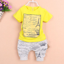 Fashion Baby Boy set summer Iron tower Printed Short-sleeved T-shirt+pants kids Clothes set Brands sport suits children clothing