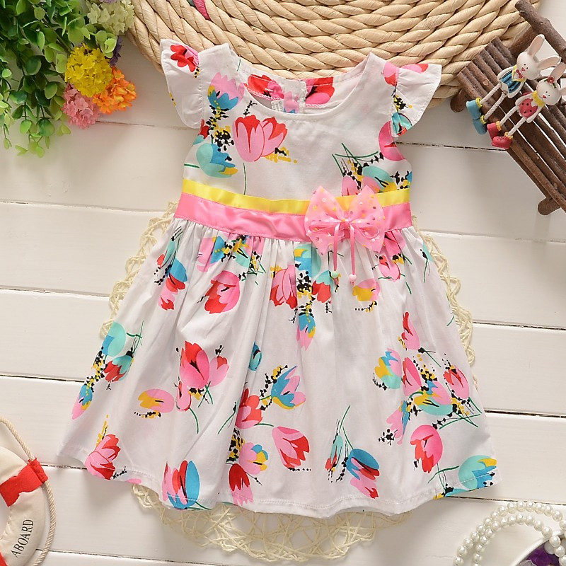 BibiCola Baby Girls Summer Dress Toddler Kids Flower Printed Cotton Dresses Children Dress Baby Casual Kids Girl Dress Clothing 1