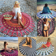 "Soft Round Beach Towel 150cm/59"" Toallas Sport Travel Camping Hiking Swim Table towel Woman Floral Geometric Print Yoga Blanket"