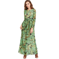 Nouvelle Arrivée D'été de Femmes Robes À Manches Longues Vert Feuille Imprimé Piste Longue Superbe Mignon Robe Automne Maxi Robe