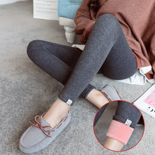 2020 winter high waist pregnant women belly panties cotton and pink velvet legging maternity stretched belly trousers warm pants cheap Pengpious Natural Color Leggings w0183127 Tights VELOUR Spandex Solid
