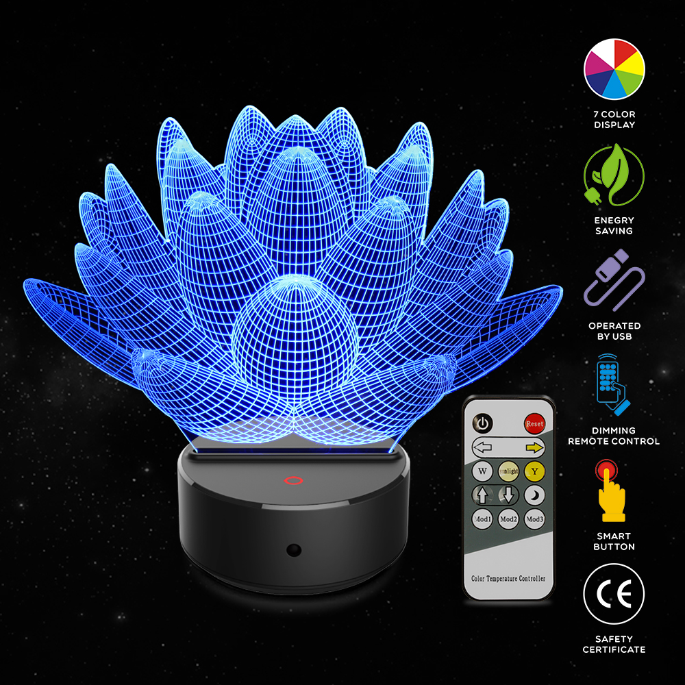 New Acrylic Lotus 3D LED Night Lamp 7 Colors USB Hologram Decor Lamp Table Desk Lights Birthday Party Gift for Children Friends цена