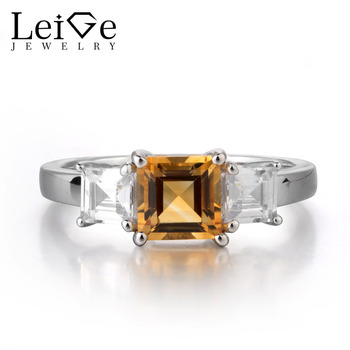 Leige Jewelry Square Cut Gemstone Natural Citrine Ring 925 Sterling Silver Yellow Quartz Wedding Engagement Romantic for Women