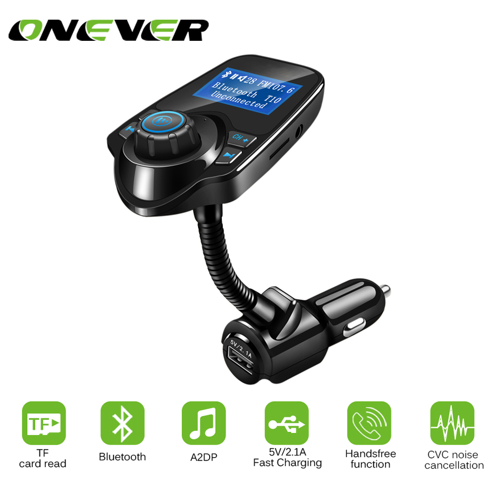 Onever Car Mp3 Audio Player Bluetooth Fm Transmitter Wireless Dc 5v Micro Usb Power Supply Hands Free Lcd Screen Handsfree Display Charger Gallery Image