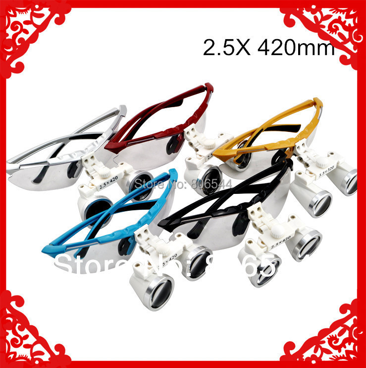ФОТО 2017 New Dentist Dental Surgical Medical Binocular Loupes 2.5X 420mm Optical Glass Loupe 4 colors for your choice