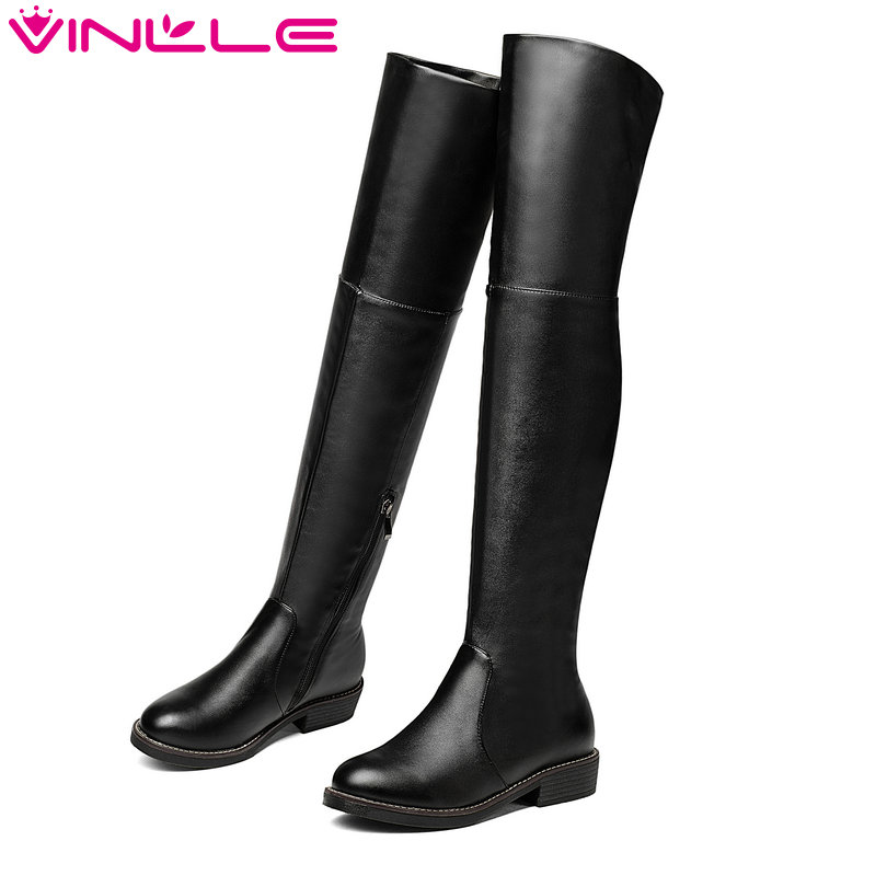 VINLLE 2018 Woman Boots Knee High Boots Square High Heel Genuine leather Zipper Women Shoes Ladies Motorcycle Boots Size 34-43 vinlle women boot square low heel pu leather rivets zipper solid ankle boots western style round lady motorcycle boot size 34 43
