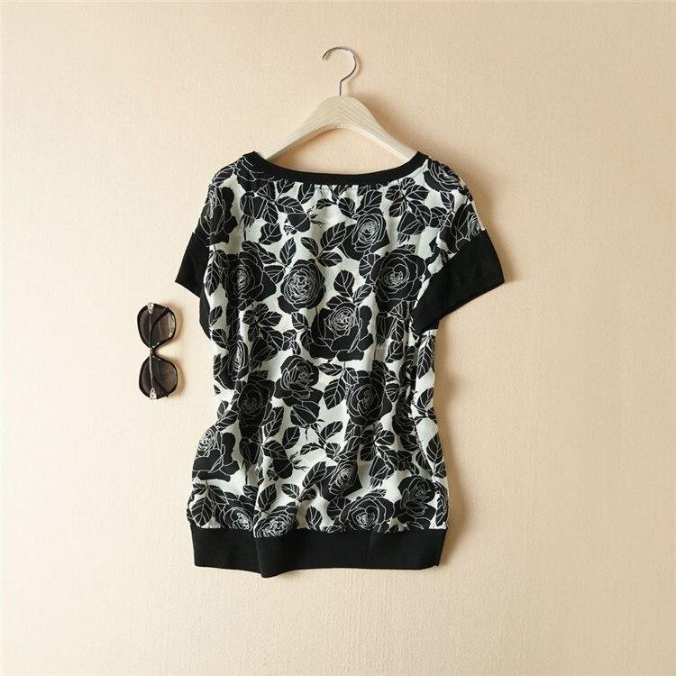 T M l Tricot 100Soie T Tops Été Mode Imprimé Mélange Black Femmes shirt Printemps Floral Spliced Noir Oneck shirts Laine rWdxCeBo
