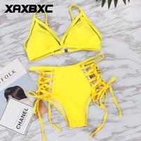 XAXBXC 2018 Summer Solid Backless Cross Bandage High Waist Padded Sexy Bikini Set Swimsuit Swimwear Women