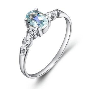 Anillo azul marino de Aguamarina Natural 925 Corazón de plata de ley joyería elegante fina de moda para mujer regalo de piedra preciosa ovalada SR0288AQ