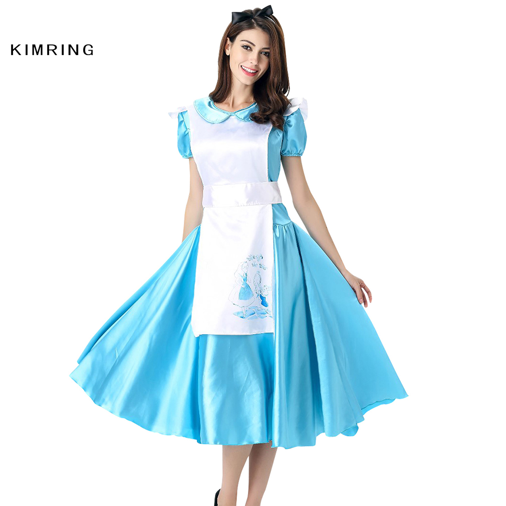 Blue apron dress - Kimring Princess Maid Dress Halloween Costume Apron Carnival Cosplay Fancy Dress Adult Women Blue Costume Dress