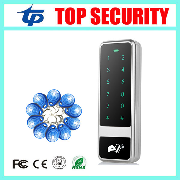 IP65 waterproof outdoor use door access control system 125KHZ RFID card access control reader touch keypad access controller free shipping touch keypad access control rfid card and touch keypad access control