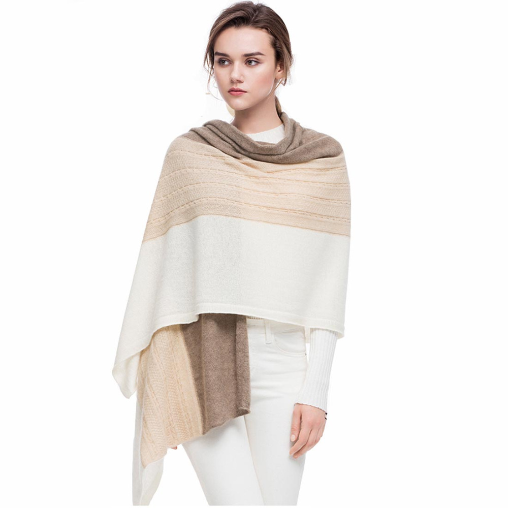 Sweaters Persevering Pure Goat Cashmere Scarf Women 2018 High-end 170*75cm Twist Knitted 3 Contast Colors Soft Skin Friendly Wrap Swing Scarves To Clear Out Annoyance And Quench Thirst