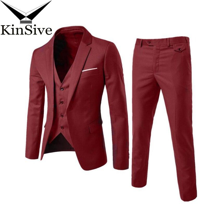 2018 New Mens Business Suit Slim Fit Classic Male Dress Suits Good Quality Wedding Suits Set For Men 3 Pieces (Jacket+Pant+Vest)