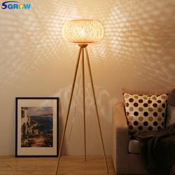 SGROW Фонари Дизайн абажур ручной работы бамбук Торшер для столовой Спальня сад дом Стиль стоя светильник