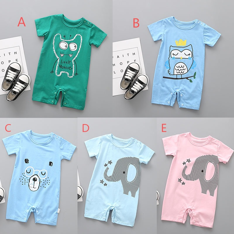 AiLe Rabbit neonatal summer wear short-sleeved ha clothing cartoon bear the infant child ha ins hot style baby climb clothes