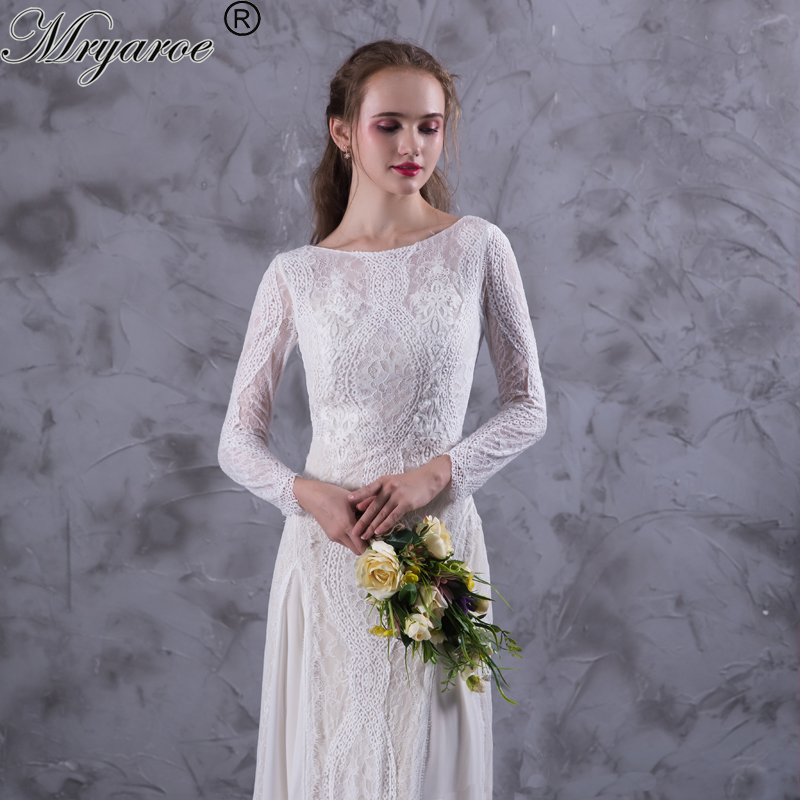 Bohemian Wedding Dress: Mryarce Lace Bohemian Wedding Dresses French Lace Long
