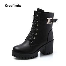 Cresfimix botas femininas botas de senhora botas de plataforma de couro de alta qualidade pu lady mulheres moda botas pretas de salto alto botas legais b2840