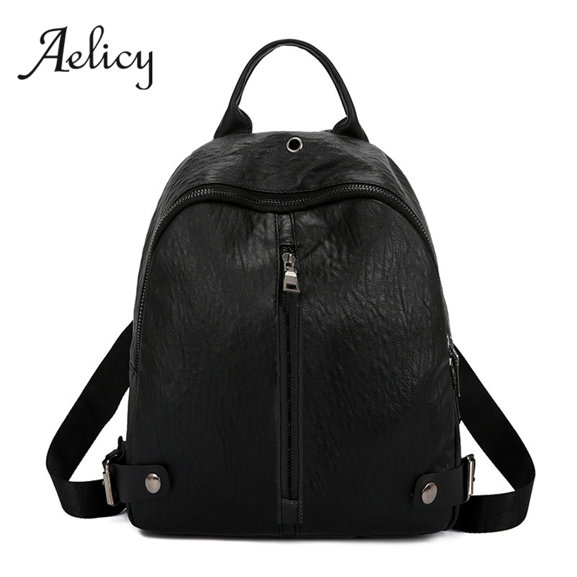 Aelicy Women Casual Zipper Backpack Small Quality PU Leather Students School Bag Female Fashion Daily Travel Shoulder BagAelicy Women Casual Zipper Backpack Small Quality PU Leather Students School Bag Female Fashion Daily Travel Shoulder Bag
