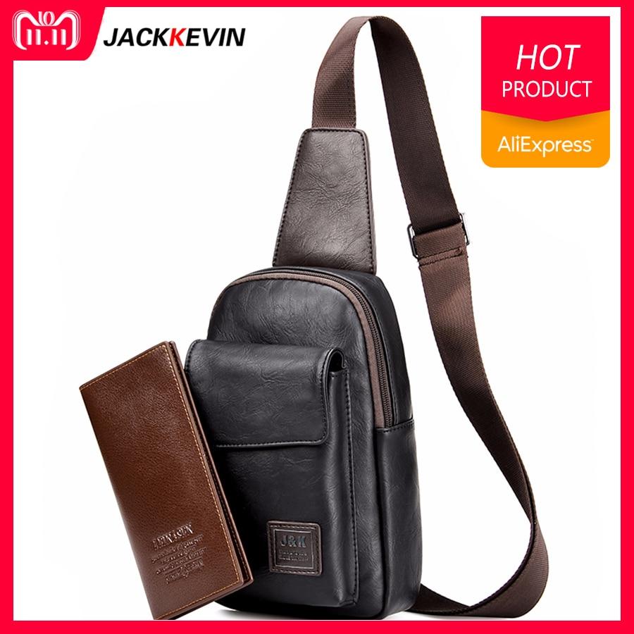 Men's Fashion Retro PU Foot Leisure Travel Bag Shoulder Messenger Bag Waterproof Wear Chest Harness Chest Pocket contrast panel chest pocket tee