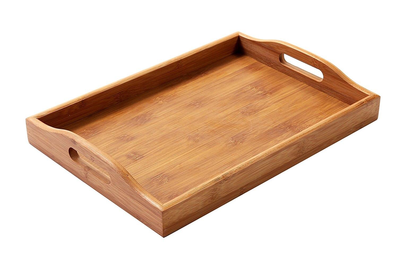 Rechteck Bambus Butler Tablett Mit Griffen-Für Brot, Tee, Frühstück, Party Service, und Mehr-35x22x5 cm