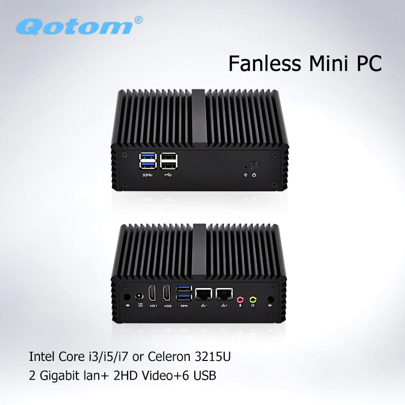 Qotom Mini PC Intel Core I3-4005y  I5-4200y Celeron 3215U Linux Fanless Mini PC Thin Client Industrial Computer Router Server