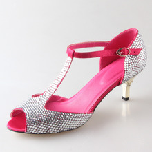 Handmade fuchsin shoes with clear rhinestone T strap dress woman shoes tropical wedding bridal pumps quinceanera cocktail heels