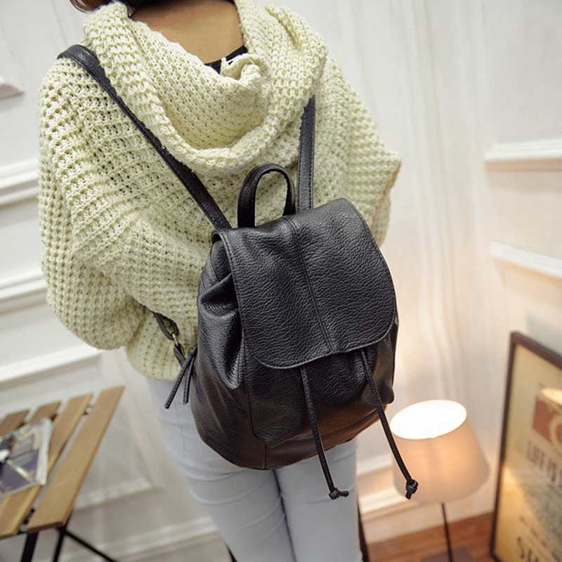 New Fashion Women Backpack Unique Woven Casual Double Shoulder Bags Soft PU Leather Students School Bag