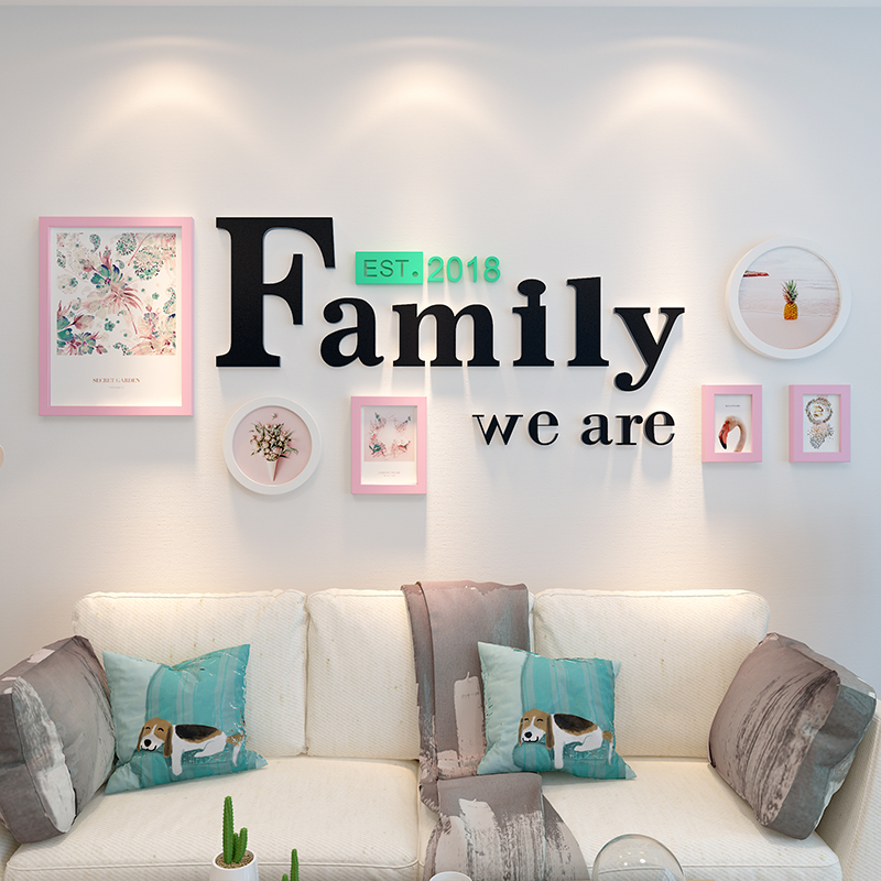 6pcs Picture Frames+We are Family Letters Home Decoration Art Photo Frame Set Wooden Pictures Frame Set Vintage DIY Wall Decor