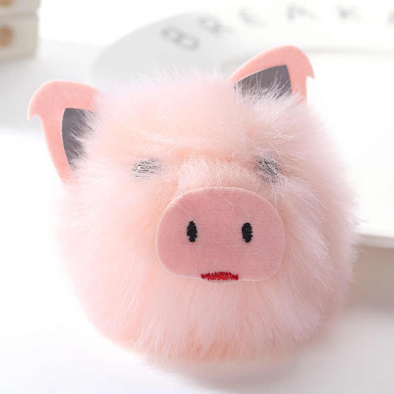 Bonito 2017 Charme Rosa Pompom Chaveiro Porco Pingente de Mulheres Saco Piggy Keycover Chave Anéis Da Cadeia de Bola de Pêlo Macio Pendurar Brinquedo bugigangas carro