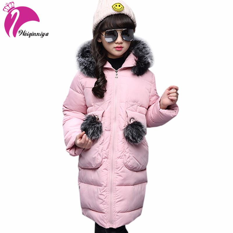 Down Jacket For Girl Winter Jackets Kids Fashion Solid Girls Parka Coats Thick Fleece Warm Children Girls Jackets casual 2016 winter jacket for boys warm jackets coats outerwears thick hooded down cotton jackets for children boy winter parkas