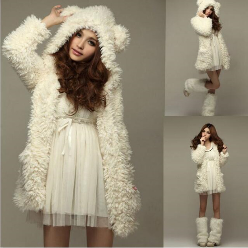 2018 Women Vest Cotton Polyester Regular Autumn And Winter New Style Hot Teddy Princess Cute Bear Ears With A Plush Jacket