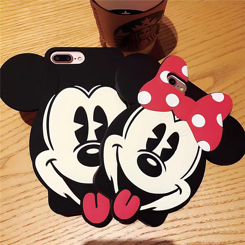 Funny 3D Cartoon Happy Smile <font><b>Mickey</b></font> Minnie Silicone Case for <font><b>iPhone</b></font> <font><b>6</b></font> 6S Plus Shockproof Cover <font><b>Coque</b></font> for Apple <font><b>iPhone</b></font> 7 8 Plus image