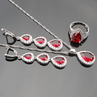 925 Sterling Silver Red Garnet White Topaz Jewelry Sets For Women Sliver Long Drop Earrings Necklace