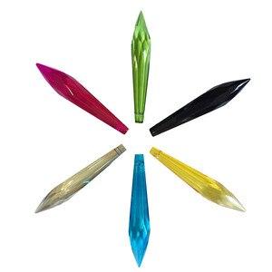 Image 2 - 500 pcs mélanger la couleur 63mm cristal multi coupes verre glaçon prisme pour accrocher cristal lustre prisme pièces goutte pendentif