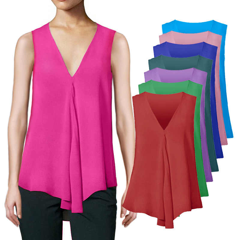 Fashion Women Chiffon Blouses Ladies Tops Sleeveless V Neck Shirt Blusas Femininas Plus Size S-6XL Female Clothing 6Q2528