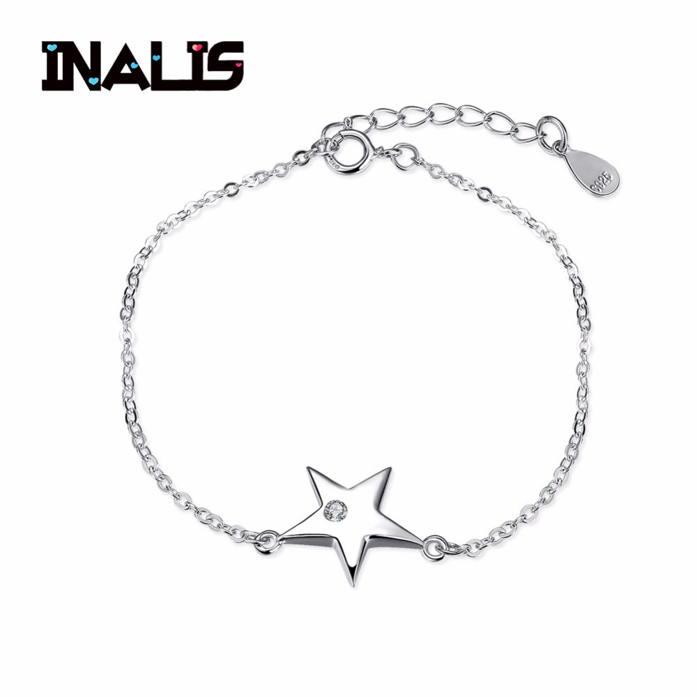 Inalis Simple Design 925 Sterling Silver Link Chain Bracelet&bangle Star With Single Cz Stone Pendant For Women Party Jewelry Bracelets & Bangles
