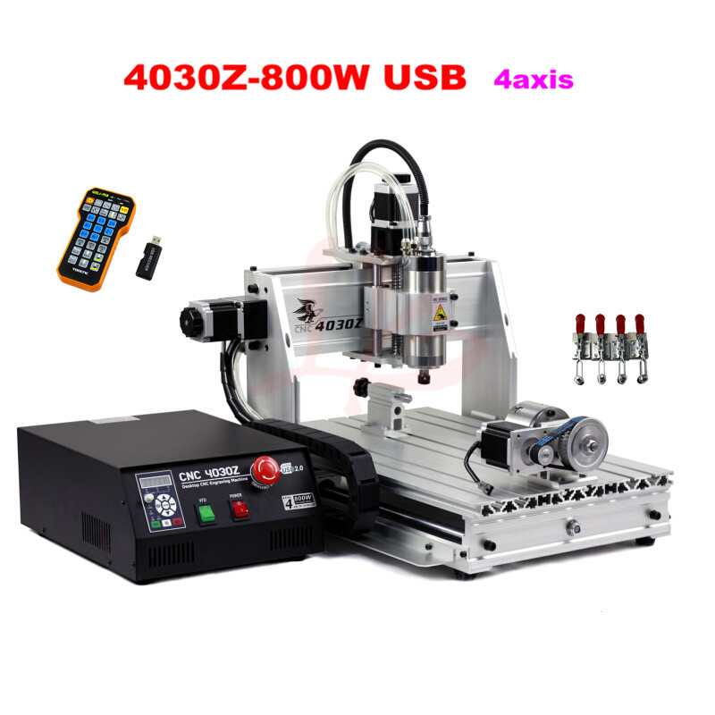 4030Z-800W USB 4axis with mach3 remote control CNC Router /Engraving Drilling and Milling Machine,free tax to EU free shipping 62pcs tig welding consumables accessories kits 17