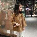 Мода Девочка Футболка O шеи длинным рукавом девушки топы детской одежды одежда